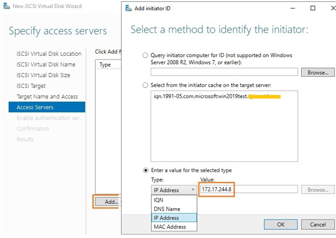 add iscsi initiator by an ip address on windows server