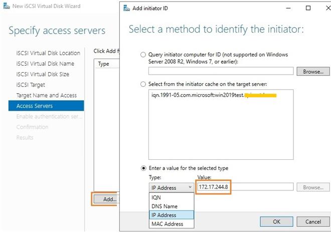 add iscsi initiator by an ip address on windows server