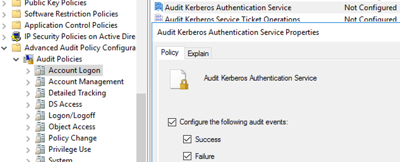 Audit Kerberos Authentication Service Policy