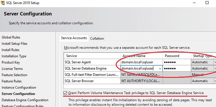 configuring sql service service accounts