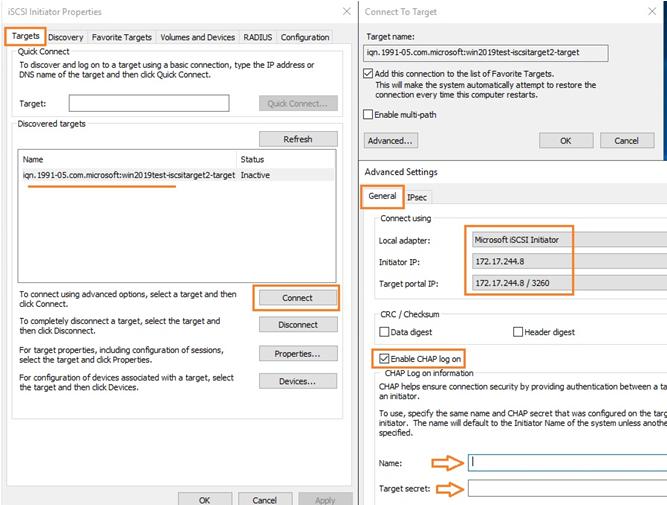connect iscsi target on windows server initiator