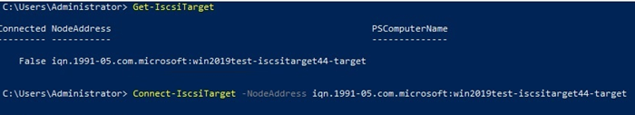 Connect-IscsiTarget node