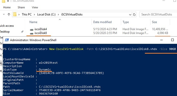 create dynamic iscsi virtual disk file with New-IscsiVirtualDisk PowerShell cmdlet