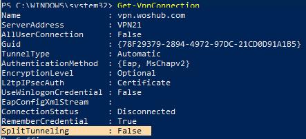 Get-VpnConnection - set SplitTunneling