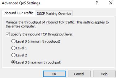 Inbound TCP Traffic throughput level