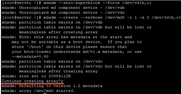 mdadm create a software raid device in linux