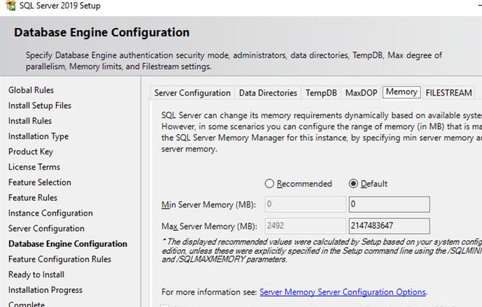 Microsoft SQL Server Server memory configuration options