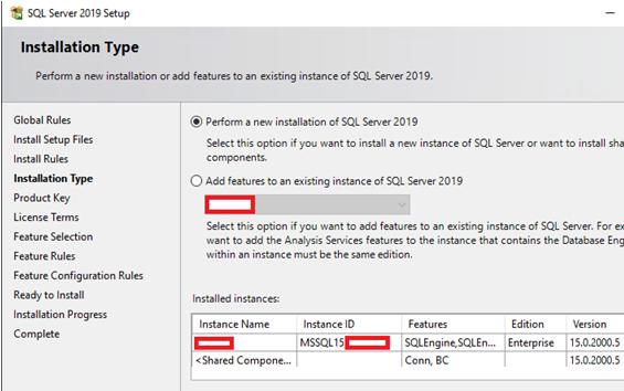 perform a new installation of SQL Server 2019