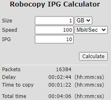 robocopy ipg calculator