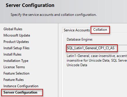 set sql server collation - SQL_Latin1_General_CP1_CI_AS