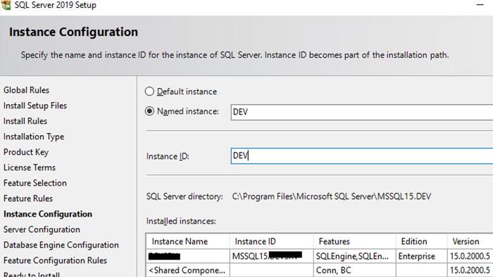 set sql server instance name