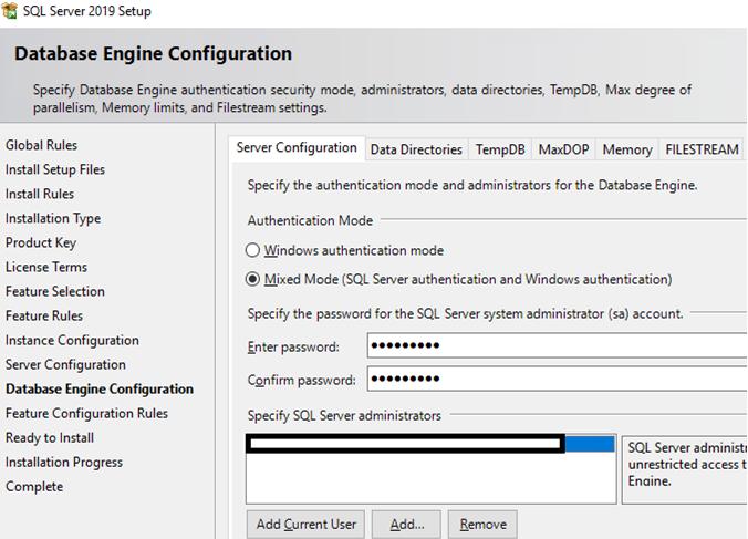 sql server 2019 installation guide - database engine configuration
