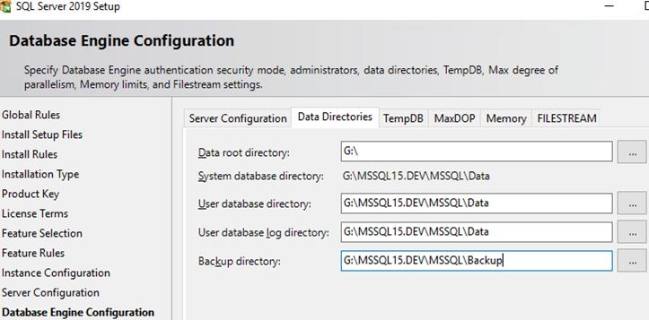 sql server 2019 setup set data directories
