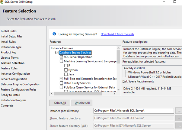 sql server - select features to install
