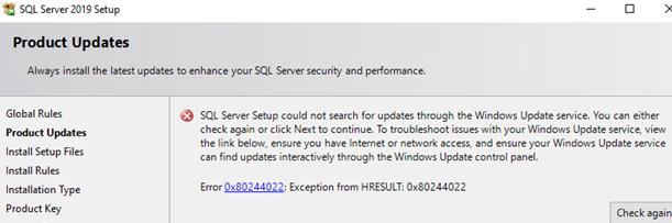 sql server update error 0x80244022