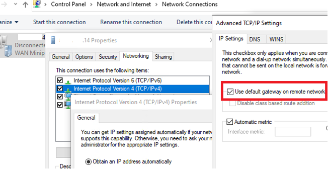 windows 10 - Use default gateway on remote network for VPN connection