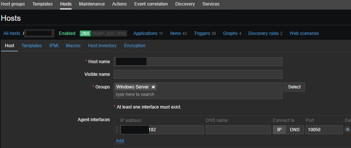 adding new agentless host to zabbix