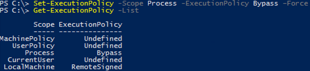 check the current ExecutionPolicy settings for all scopes