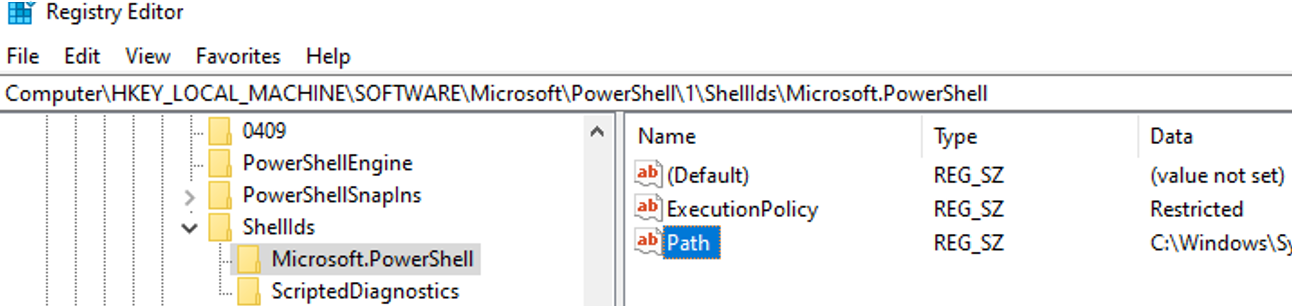 check the value of the powershell ExecutionPolicy in registry