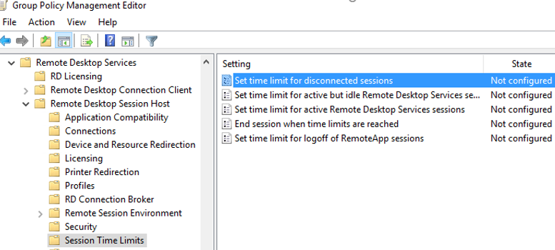 configure RDP/RDS session time limits via GPO