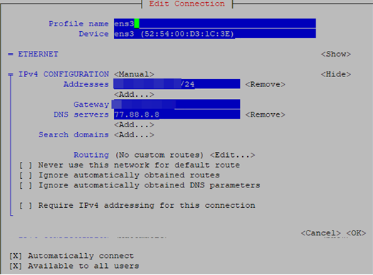 ipv4 configuration for linux network device
