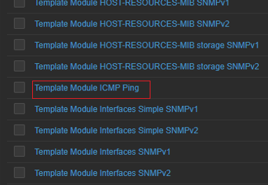 link a template module icmp ping to zabbix host