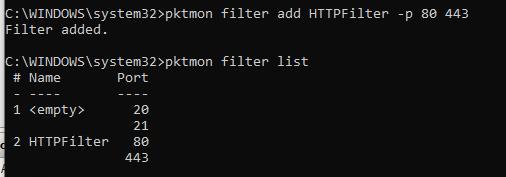 pktmon add TCP port filters