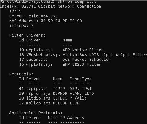pktmon comp list - network interfaces