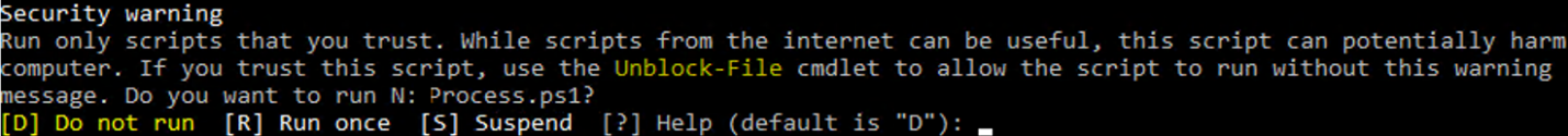 powershell security warning Run only scripts that you trust. While scripts from the internet can be useful, this script can potentially harm your computer. If you trust this script, use the Unblock-File cmdlet to allow the script to run without this warning message