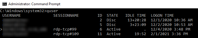 quser command - list all rds session with logon time, idle and state