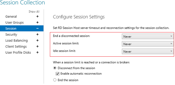 RDS server timeouts in session collection properties on RD session host