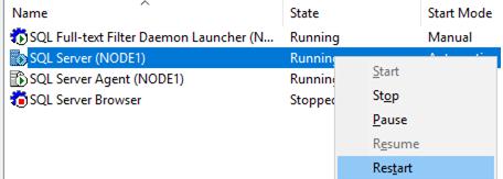 restarting sql server instance