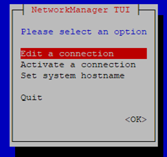 set network with nmtui