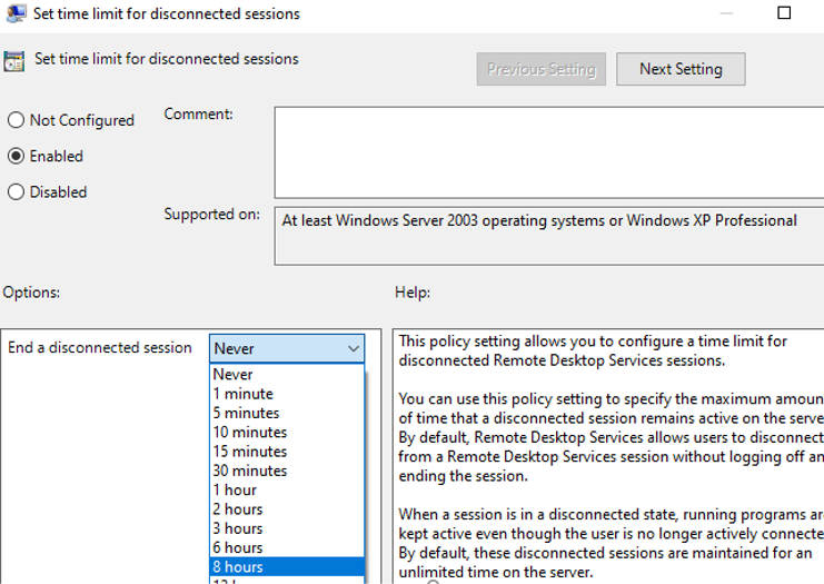 """Set time limit for disconnected session"" - group policy parameter to restrict rdp session time"