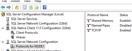setting network setting with sql server configuration manager