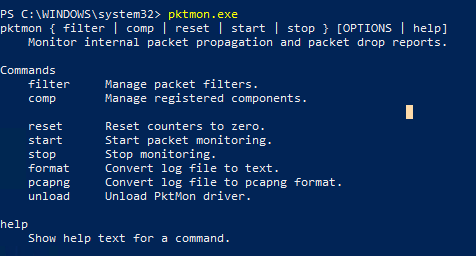 syntax of Packet Monitor tool (pktmon.exe) on windows 10