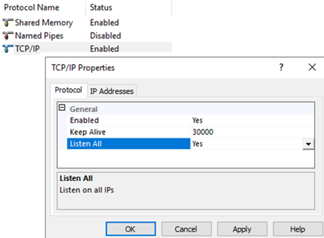 tcp/ip properties of the sql server named instance