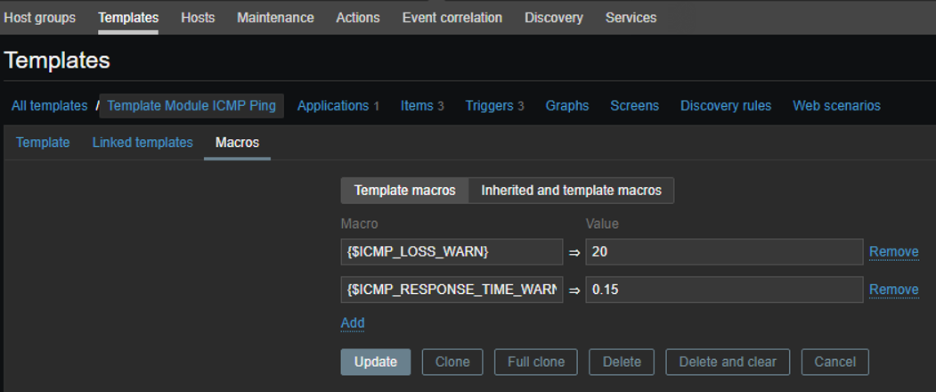 template icmp ping macros on zabbix