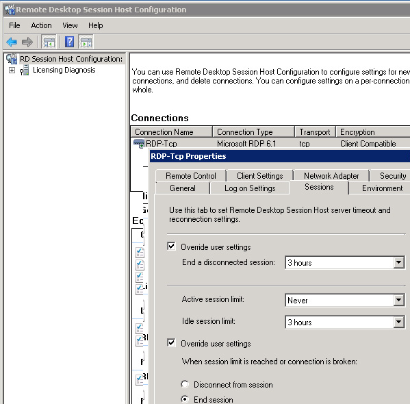tsconfig.msc session limits on windows server 2008 r2