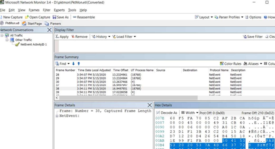 using pktmon log file in microsoft network monitor