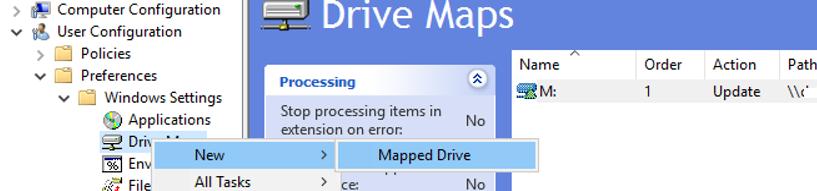 add network drive map rule in GPO