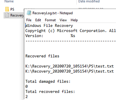check recovery log of windows file recovery