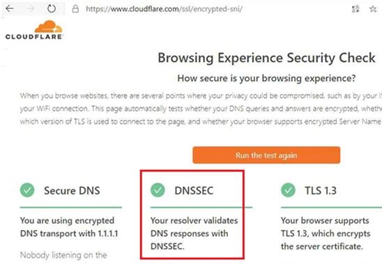 cloudlflare perform dnssec test