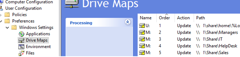create multiple rules to map different drives (network folders) in a single group policy