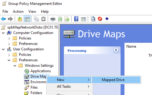 create new mapped drive via group policy preferences
