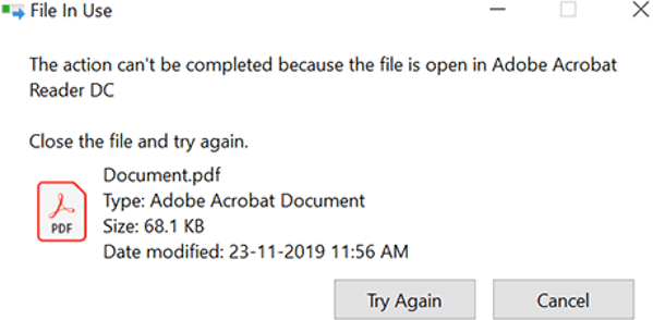 File in Use. The action can't be completed because the file is open in another program