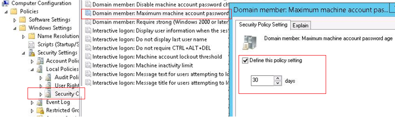 group policy parameter - Domain member: Maximum machine account password age