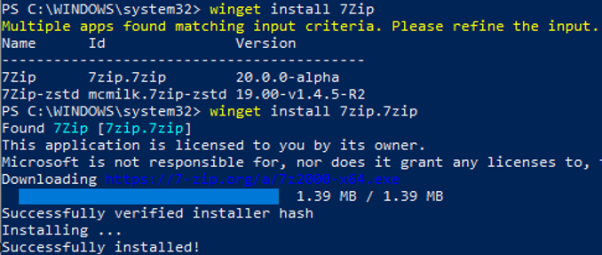 install 7zip from windows command uing winget