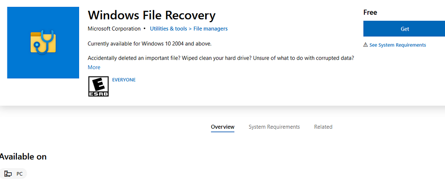 installing windows file recovery tool from microsoft store on windows 10