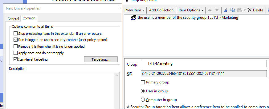 map network drive only to specific AD security group members